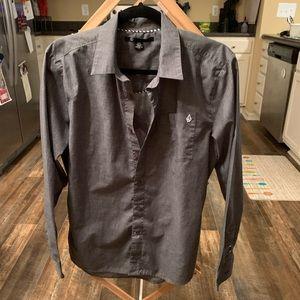 Volcom charcoal gray button up shirt
